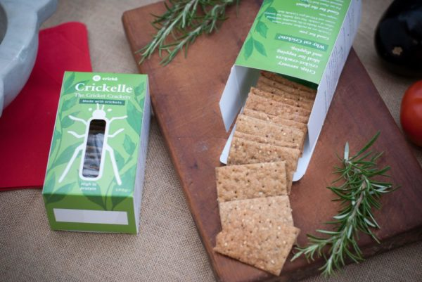 Crickelle cricket crackers with sesame and cricket flour. Made in the UK with Italian Ingredients