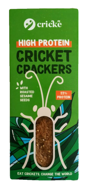 Cricke Cricket crackers made with cricket powder, cricket flour. High protein snack made with insects.