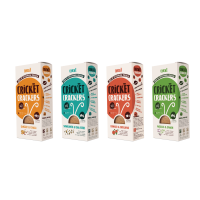 Cricket Crackers made with edible insects in four different flavours
